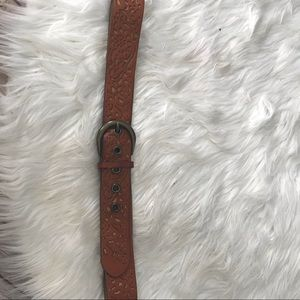 Fossil brown tooled leather belt